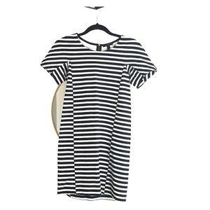 J. Crew - Black + White striped shift dress